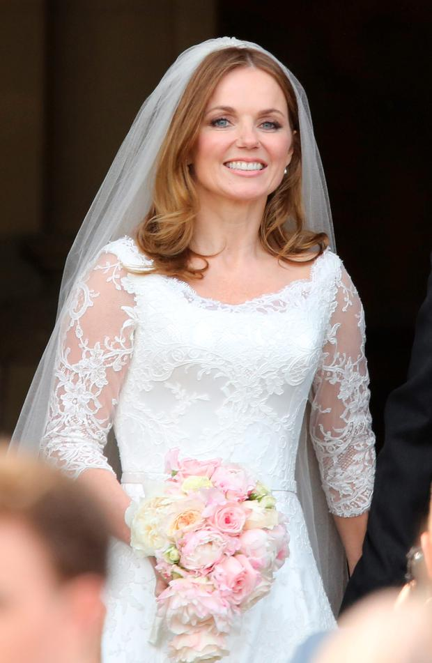 Spice Girl Geri Halliwell after her wedding to Formula 1 boss Christian Horner at St Mary's Church in Woburn, Bedfordshire. Photo: Chris Radburn/PA Wire