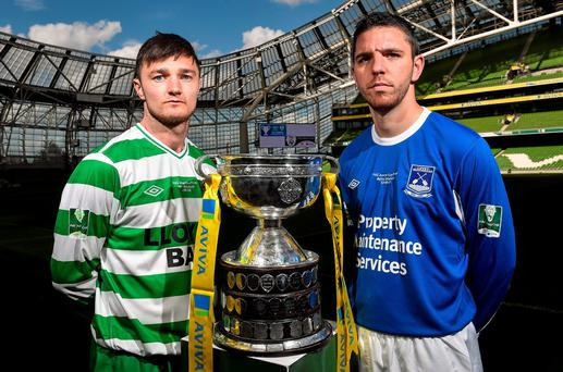 FAI Junior Cup finalists, Paul Murphy, left, Sheriff YC captain, and David Andrews, Liffey Wanderers captain, at an FAI Umbro Intermediate Cup and FAI Junior Cup Media Day