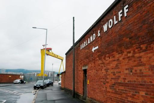 The entrance to Harland and Wolff shipyards in Belfast where a bacterial infection that can cause potentially deadly illnesses has broken out there Photo credit: David Young/PA Wire