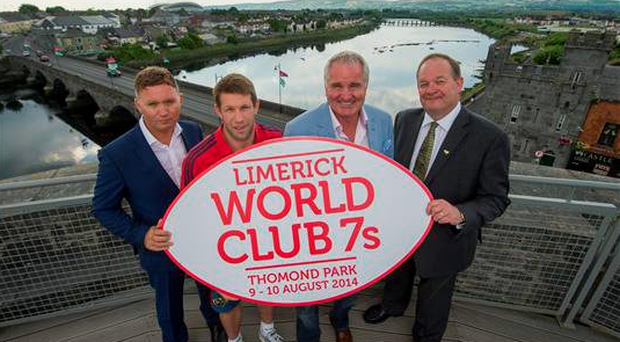 At the launch of last year's Limerick World Club 7's are, from left to right, Event Director Tim Magee, Munster Elite Development Players Officer Colm McMahon, Brent Pope and Limerick Marketing Company CEO Eoghan Prendergast. King John's Castle, Limerick 9Diarmuid Greene / SPORTSFILE)