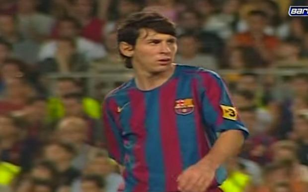 Young: Lionel Messi against Juventus in 2005 Photo: FCBARCELONA/YOUTUBE