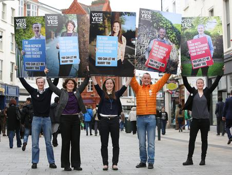David Caron, Sandra Irwin Gowran, Celeste Roche, John Curran, and Sarah Gilligan at the Yes Equality launch of posters featuring real voters appealing for a Yes vote on Grafton Street. Photo: Damien Eagers