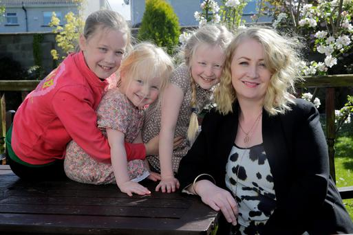 Siobhan O'Neill White with her daughters Robyn (10), April (7) and Summer (3) at their home in Bettystown, Co Meath. Picture:Arthur Carron