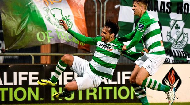 Maxime Blanchard, left, Shamrock Rovers, celebrates after scoring his side's second goal, with team-mate Mikey Drennan.