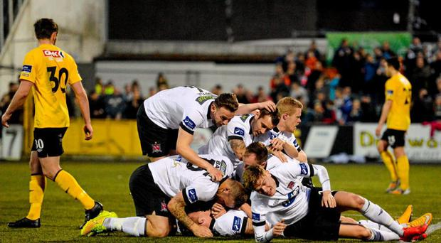 15 May 2015; John Mountney, Dundalk, is congratulated by team-mates after scoring his side's first goal.