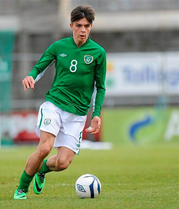 5 March 2014 - Jack Grealish, pictured here playing for the Republic of Ireland during the UEFA Under 21 Championship Qualifier, against Montenegro (Piaras Ó Mídheach / SPORTSFILE)