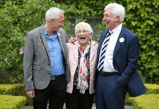 Communications Minister Alex White with his brother Seamus and his mother Agatha. Photo: Damien Eagers