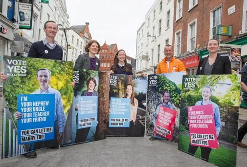 The Campaign for Civil Marriage Equality has launched a series of campaign posters featuring lesbian and gay citizens of Ireland, from all walks of life, asking the Irish people to vote Yes on 22 May. Pictured L-R David Caron, Sandra Irwin-Gowran, Celeste Roche, John Curren and Sarah Gilligan.