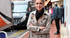 Amy Huberman spotted outside Balfes Cafe at the Westbury Hotel showing off her new baby boy Billy to friends and fellow actor Liam Cunningham