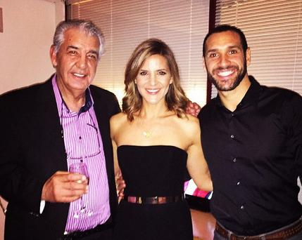 Amanda Byram with her boyfriend and father