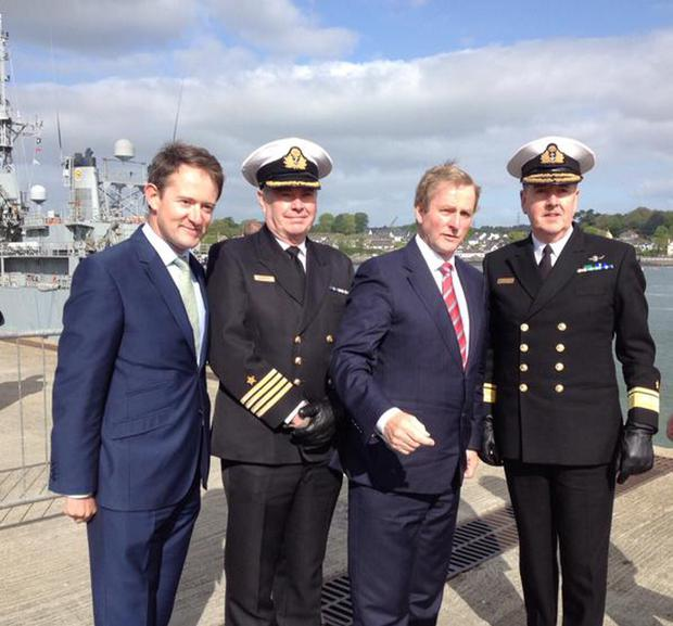 Minister of State at Department of Foreign Affairs Sean Sherlock with An Taoiseach launching LE Eithne from Haulbowline in Cork Credit: Seán Sherlock