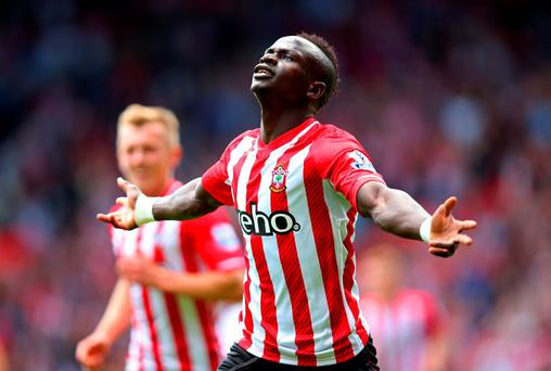 Sadio Mane celebrates scoring the opening goal against Aston Villa at St Mary's Stadium