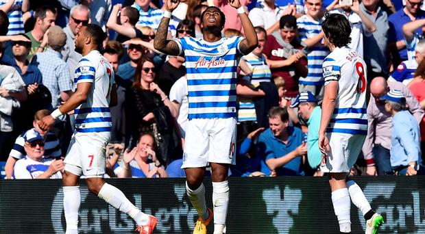 Queens Park Rangers' Leroy Fer celebrates after scoring the winning goal against Newcastle United at Loftus Road