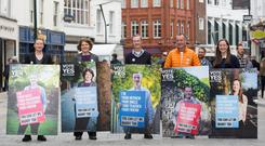 Yes Equality: The Campaign for Civil Marriage Equality ha launched a new series of campaign posters featuring real lesbian and gay citizens of Ireland, from all walks of life, asking the Irish people to vote Yes on 22 May. Pictured L-R Sarah Gilligan, Sandra Irwin-Gowran, David Caron, John Curren and Celeste Roche