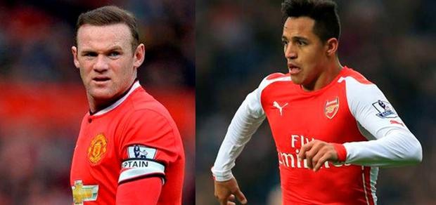 Manchester United striker Wayne Rooney and Arsenal's Chilean forward Alexis Sanchez