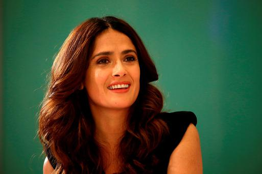 Actress Salma Hayek onstage during the Variety and UN Women's panel discussion on gender equality at 68th Cannes Film Festival a