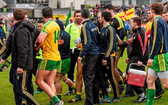 17 May 2015; Players and officals of Donegal and Tyrone leave the pitch at halftime. Ulster GAA Football Senior Championship, Preliminary Round, Donegal v Tyrone. MacCumhaill Park, Ballybofey, Co. Donegal. Picture credit: Stephen McCarthy / SPORTSFILE