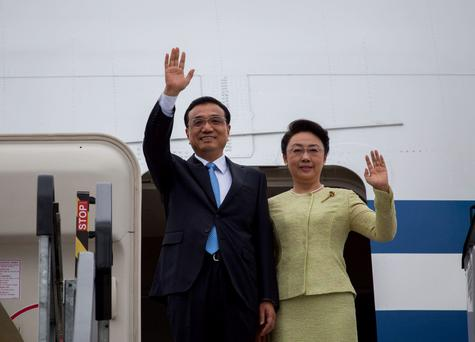 Chinese Premier, Li Kegiang accompanied by his wife Professor Cheng Hong pictured on their arrival at Shannon Airport. Photo: Alan Place/FusionShooters.
