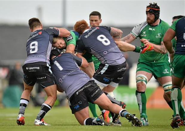 Fionn Carr, Connacht, is tacled by Ospreys' Rhys Webb, Nicky Smith and Dan Baker. Guinness PRO12, Round 22, Connacht v Ospreys, Sportsground, Galway on Saturday (Ray Ryan / SPORTSFILE)
