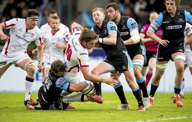Iain Henderson, Ulster, is tackled by Peter Horne, Glasgow Warriors. Guinness PRO12, Round 22, Glasgow Warriors v Ulster, Scotstoun Stadium, Glasgow, Scotland (Craig Watson / SPORTSFILE)