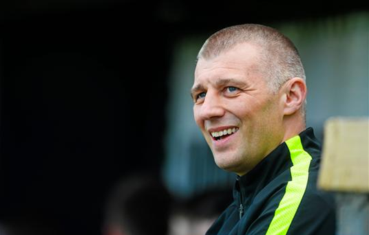 Bray Wanderer's Manager Trevor Croly smiles after the 1-0 victory at the SSE Airtricity League Premier Division, Bray Wanderers v St Patrick's Athletic (Ray Lohan / SPORTSFILE)