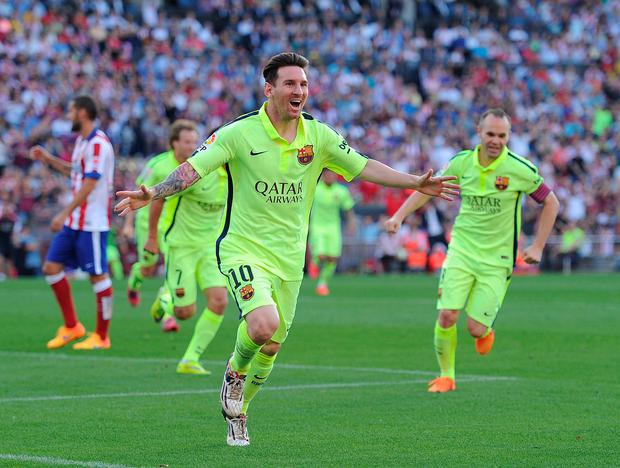 Lionel Messi of FC Barcelona celebrates after scoring his team s opening  goal during the La Liga dcfdb36897488