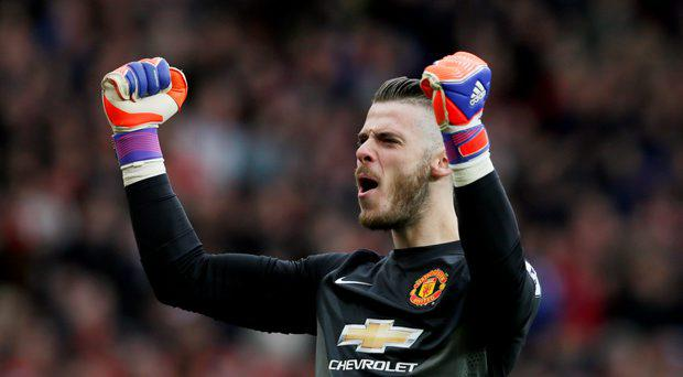 David De Gea celebrates after Ander Herrera (not pictured) scores the first goal for Manchester United