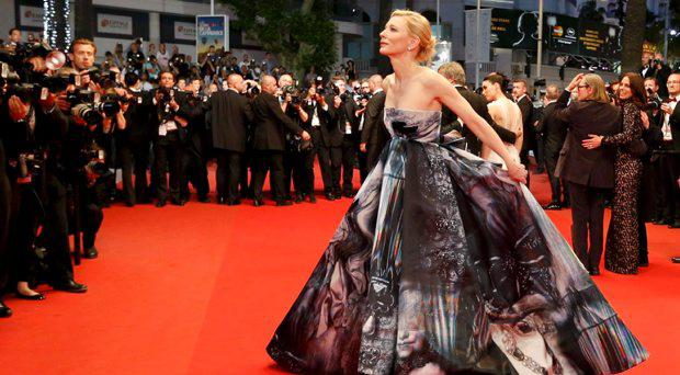 Cast member Cate Blanchett poses on the red carpet as she leaves after the screening of the film