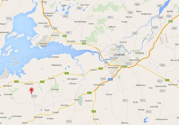 The bodies were discovered in the townland of Boolaglass (marked here), near Askeaton in Limerick