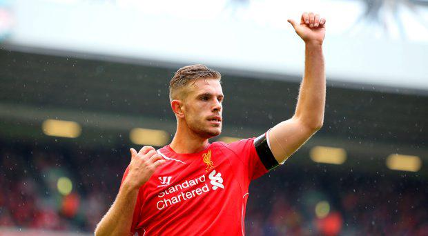 Liverpool's Jordan Henderson during the Barclays Premier League match at Anfield