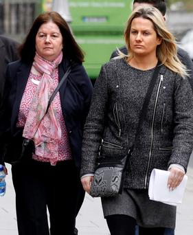 Photo: Sharon Joyce with her mother Mary after the hearing. (Pic: CourtPix.)