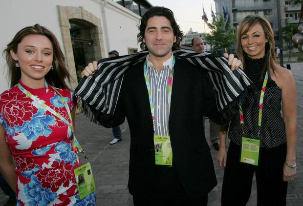 Brian Kennedy with singers Una Healy and Paula Gilmers ahead of his Eurovision performance in Athens, 2015.