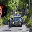 The funeral cortege arrives pictured at the funeral of former broadcaster, Derek Davis who died last week. Photo: Colin Keegan, Collins Dublin.