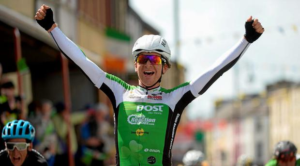 Aaron Gate, of An Post Chain Reaction, celebrates after winning Stage 2 of the 2015 An Post Ras. Carlow - Tipperary.