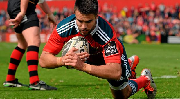 Conor Murray scores his third try during Munster's victory over Newport Gwent Dragons at Irish Independent Park, Cork on Saturday