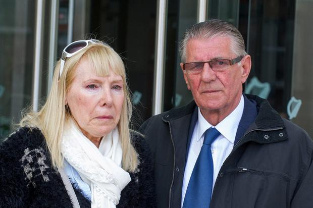 Sinead Maguire's parents Lillian and Raymond outside court after Eric Wansboro received a eight and a half year jail sentence at Dublin Circuit Criminal Court. Photo: Court Collins.