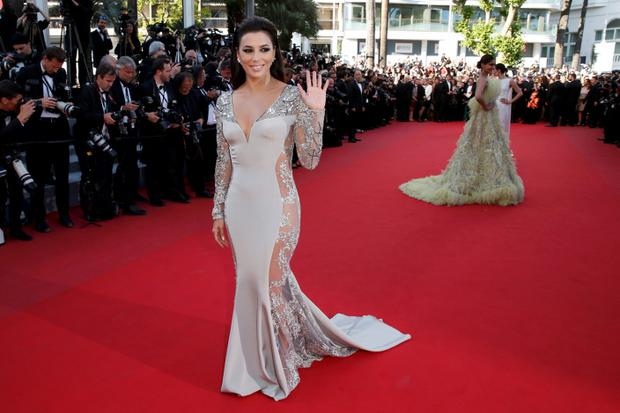 Actress Eva Longoria poses on the red carpet as she arrives for the screening of the animated film