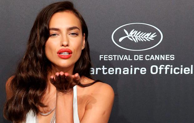 Russian model Irina Shayk attends the Soiree Chopard 'Gold Party' on the sidelines of the 68th Cannes film festival