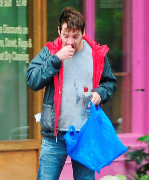 Irish actor Jonathan Rhys Meyers appears to have fallen off the wagon in London. Picture: XposurePhotos.com
