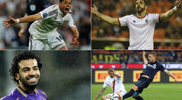 Clockwise from top left - Javier Hernandez, Alvaro Negredo, Lukasz Podolski and Mohamed Salah