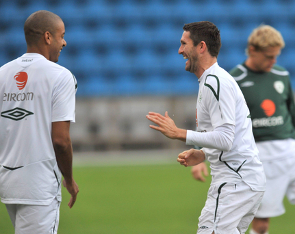Republic of Ireland captain Robbie Keane with Steven Reid during an Ireland training session in 2008