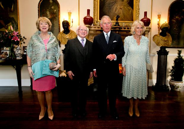 President Michael D Higgins ANd his wife Sabina (left) with the Prince of Wales and the Duchess of Cornwall at Lough Cutra Castle, Galwa. Photo: Chris Bellew/Fennell Photography