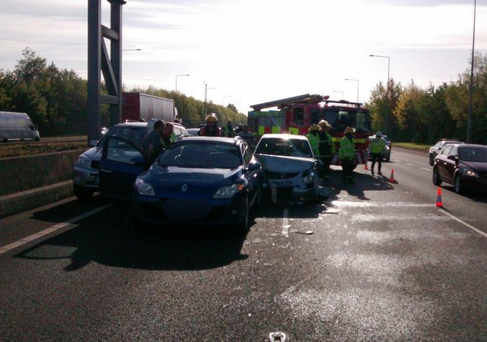 The accident occurred on the M50 southbound between Junctions 4 (Ballymun) and 5 (Finglas). Photo: Twitter/ @DubFireBrigade