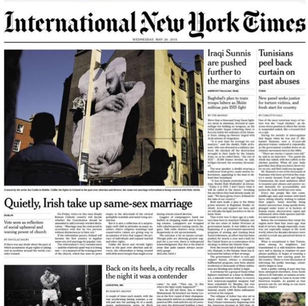 The front page of the International New York Times (Photo: Instagram/Joe Caslin)
