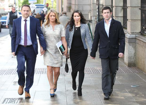 (L-R)Mark and Roisin Molloy, Amy Delahunt and Oliver Kelly pictured arriving to the Joint Committee on Health and Children at Leinster House Dublin this morning.Pic Stephen Collins/Collins Photos