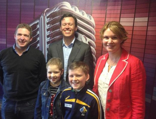 Caoimhin O'Donovan with his sister Shona and mum Luighseach and dad Kevin pictured with Anton Savage of Today FM.