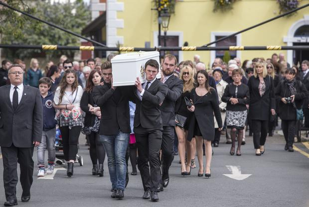 The remains of Ana Hick who died after collapsing outside Twisted Pepper are brought to the Church of the Assumption, Dalkey Pic:Mark Condren