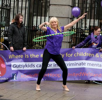 Miriam O'Callaghan at the Gutsykids Ireland protest