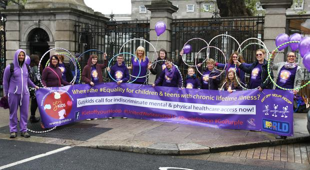 Miriam O'Callaghan joined with Gutsykids Ireland for the protest