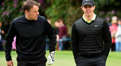Phil Neville with Rory McIlroy